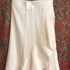 Off White Linen & Rayon Boho Skirt from Westport